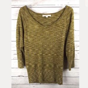 LOFT OLIVE GREEN MULTI SCOOP NECK SPACEDYE SWEATER